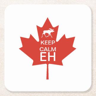 Posavasos Cuadrado De Papel El día de Canadá GUARDA el EH TRANQUILO