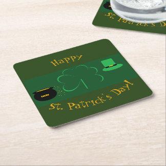 Posavasos Cuadrado De Papel El día de St Patrick feliz