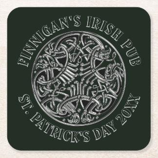 Posavasos Cuadrado De Papel El día de St Patrick irlandés de estilo celta del