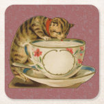 Posavasos Cuadrado De Papel El gato y la tintorería victorianos