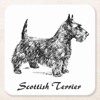 Posavasos Cuadrado De Papel Escocés Terrier