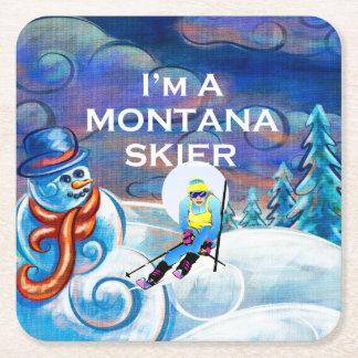Posavasos Cuadrado De Papel Esquiador SUPERIOR de Montana