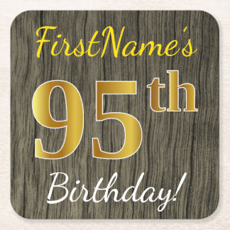 Posavasos Cuadrado De Papel Falsa madera, 95.o cumpleaños del falso oro +