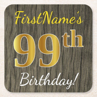 Posavasos Cuadrado De Papel Falsa madera, 99.o cumpleaños del falso oro +