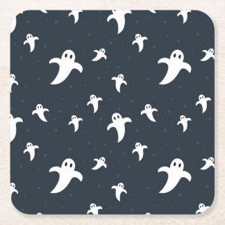 Posavasos Cuadrado De Papel Fantasmas blancos lindos