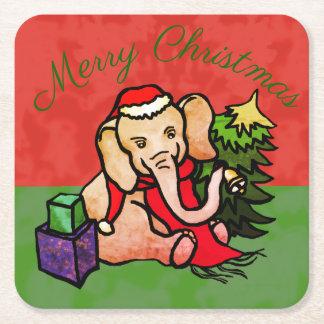 Posavasos Cuadrado De Papel Feliz elefante lindo del dibujo animado de Santa