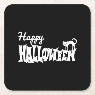 Posavasos Cuadrado De Papel Feliz Halloween blanco y negro