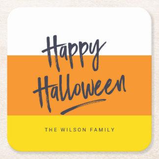 Posavasos Cuadrado De Papel Feliz Halloween dulce de las pastillas de caramelo