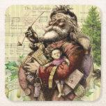 Posavasos Cuadrado De Papel Feliz Papá Noel y el árbol de Navidad