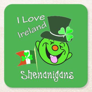 Posavasos Cuadrado De Papel Fiesta afortunado temático irlandés del Leprechaun