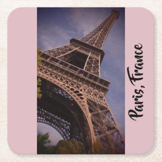 Posavasos Cuadrado De Papel Foto famosa de la señal de la torre Eiffel de