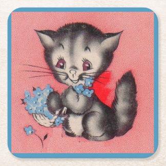 Posavasos Cuadrado De Papel gato dulce del gatito