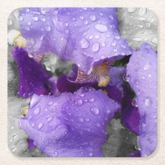 Posavasos Cuadrado De Papel gotas de agua en el iris