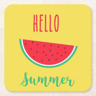 Posavasos Cuadrado De Papel Hola verano - sandía