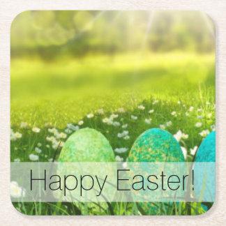 Posavasos Cuadrado De Papel Huevos de Pascua en verdes y azules de la