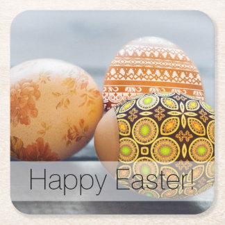 Posavasos Cuadrado De Papel Huevos de Pascua pintados rústicos