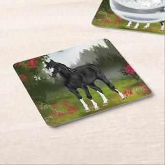 Posavasos Cuadrado De Papel Impresión árabe negra del caballo