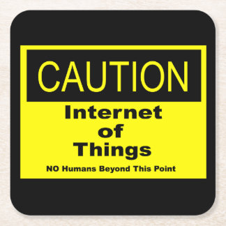 Posavasos Cuadrado De Papel Internet de la señal de peligro de la precaución