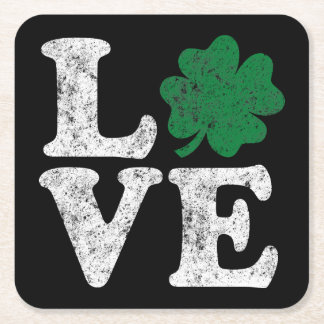Posavasos Cuadrado De Papel Irlandés del trébol del AMOR del día de St Patrick