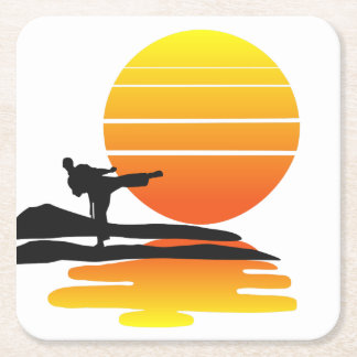 Posavasos Cuadrado De Papel Karate en el práctico de costa de la puesta del