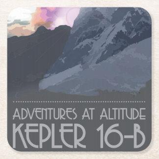 Posavasos Cuadrado De Papel Kepler 16 prácticos de costa del espacio de b