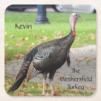 Posavasos Cuadrado De Papel Kevin la Turquía - Wethersfield viejo, CT