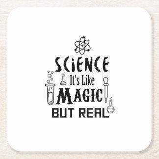 Posavasos Cuadrado De Papel La ciencia tiene gusto de magia pero de los