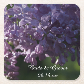Posavasos Cuadrado De Papel La lila púrpura florece el boda