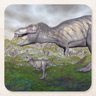 Posavasos Cuadrado De Papel La momia y el bebé 3D del dinosaurio del rex del