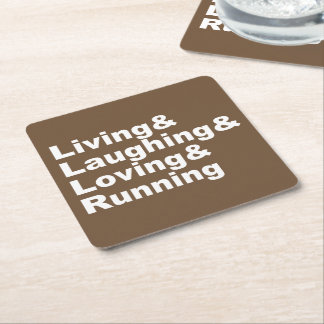 Posavasos Cuadrado De Papel Living&Laughing&Loving&RUNNING (blanco)