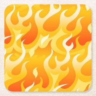 Posavasos Cuadrado De Papel Llamas calientes