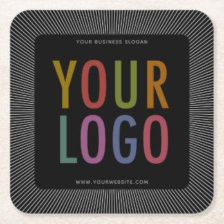 Posavasos Cuadrado De Papel Logotipo de Square Black Pulpboard Paper Coasters