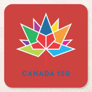 Posavasos Cuadrado De Papel Logotipo del funcionario de Canadá 150 -