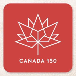 Posavasos Cuadrado De Papel Logotipo del funcionario de Canadá 150 - rojo y