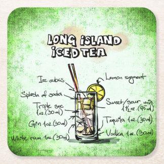 Posavasos Cuadrado De Papel Long Island heló receta de la bebida del té