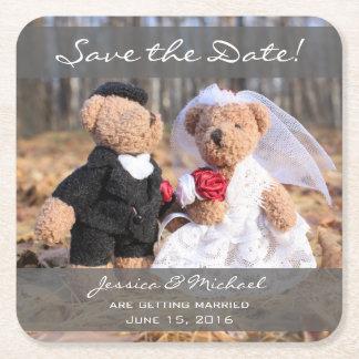 Posavasos Cuadrado De Papel Los osos de novia y del novio ahorran la fecha