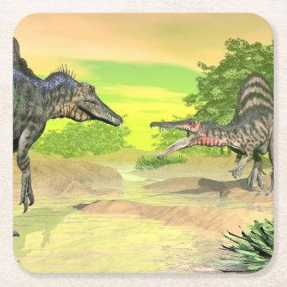Posavasos Cuadrado De Papel Lucha de los dinosaurios de Spinosaurus - 3D