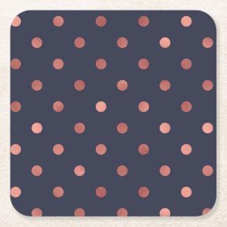 Posavasos Cuadrado De Papel Lunares color de rosa del oro en fondo azul marino