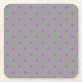 Posavasos Cuadrado De Papel lunares grises púrpuras elegantes