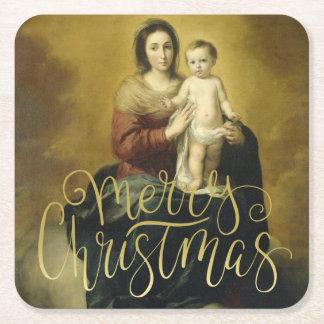 Posavasos Cuadrado De Papel Madonna y niño, navidad de la bella arte