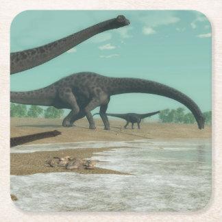 Posavasos Cuadrado De Papel Manada de los dinosaurios del Diplodocus - 3D