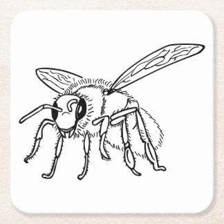 Posavasos Cuadrado De Papel Mano dibujada a la abeja