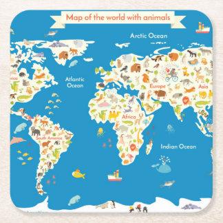 Posavasos Cuadrado De Papel Mapa de los niños del mundo con los animales