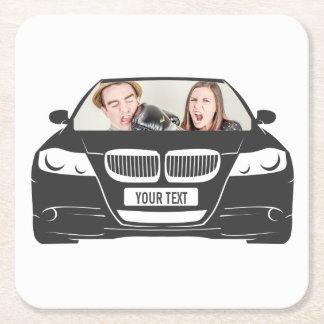 Posavasos Cuadrado De Papel Marco de encargo divertido del coche de la foto