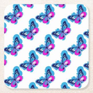 Posavasos Cuadrado De Papel Mariposa del azul del arte pop