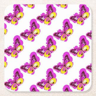 Posavasos Cuadrado De Papel Mariposa del rosa del arte pop