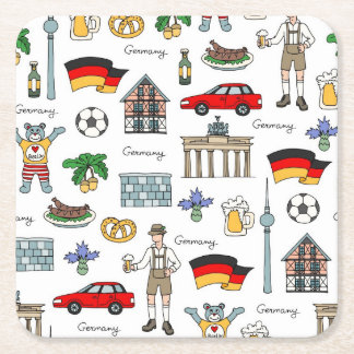 Posavasos Cuadrado De Papel Modelo de los símbolos de Alemania el  