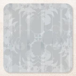 Posavasos Cuadrado De Papel Modelo floral del gris de plata del vintage
