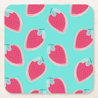 Posavasos Cuadrado De Papel Modelo lindo de la fruta de la fresa