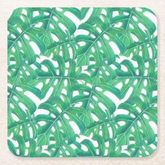 Posavasos Cuadrado De Papel Modelo tropical de las hojas del monstera verde